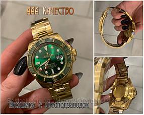 Часы мужские наручные механические с автоподзаводом Rolex Submariner AAA Gold-Green Autom реплика ААА класса