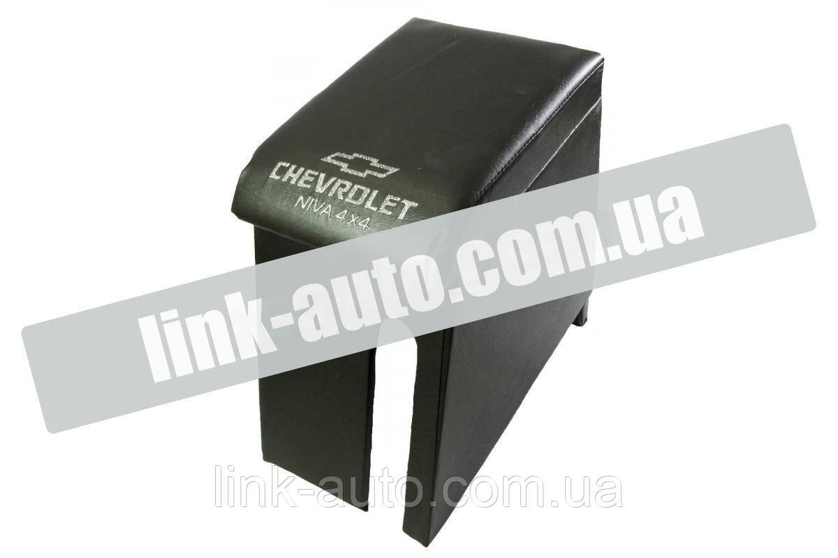 Підлокітник Chevrolet Niva чорний з вишивкою (кожзам)