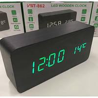 Электронные настольные часы-будильник Led Wood Clock VST-862 с будильником, датой и термометром, в форме