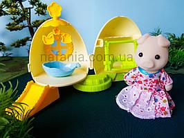 Флоксовая свинка + будиночок яйце, трансформер, (аналог Sylvanian Families)