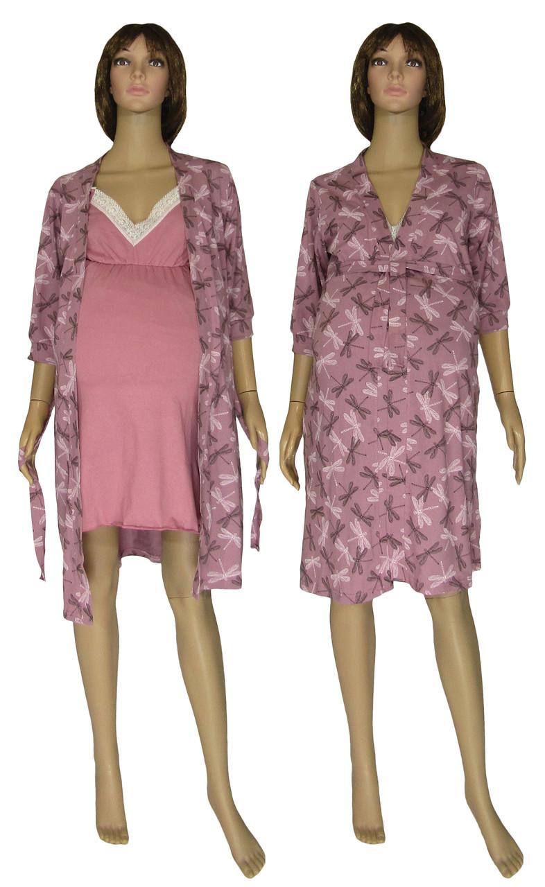 Ночная рубашка и халат для беременных и кормящих 18071 Klipsa Стрекоза коттон / кружево Лиловый