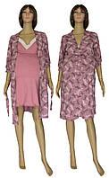 Ночная рубашка и халат для беременных и кормящих 18071 Klipsa Стрекоза коттон / кружево Лиловый, фото 1