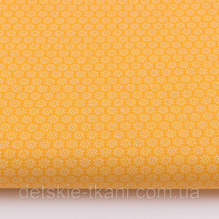 """Ткань бязь """"Маленькие цветочки с точкой внутри"""" на жёлтом фоне, №3212а"""