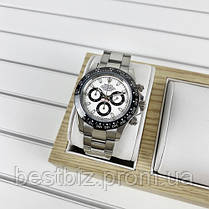 Часы мужские наручные механические с автоподзаводом Rolex Daytona Metal Silver-Black-White реплика ААА класса, фото 3