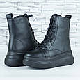 Ботинки женские зимние черные на шнурках и молнии эко кожа b-463, фото 3