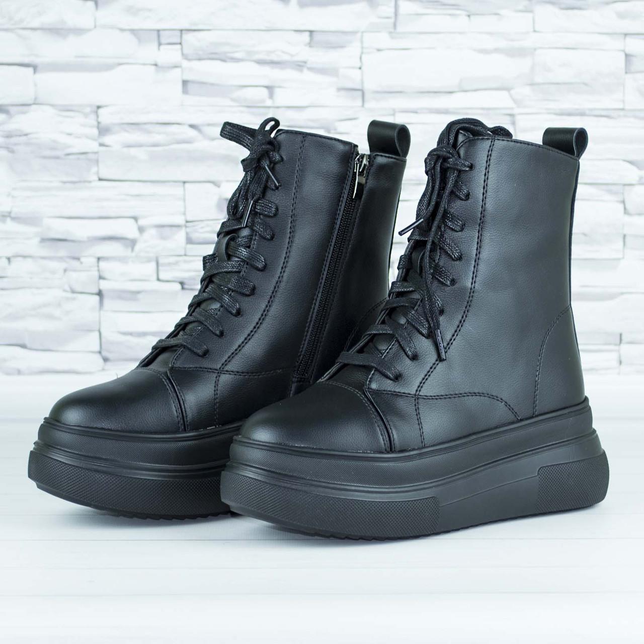 Ботинки женские зимние черные на шнурках и молнии эко кожа b-463