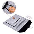 Чехол-конверт из фетра для Macbook Air/Pro 13,3'' - черно-серый, фото 3