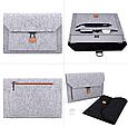 Чехол-конверт из фетра для Macbook Air/Pro 13,3'' - черно-серый, фото 4
