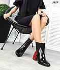 Демисезонные женские черные ботинки, натуральная лакированная кожа, фото 2