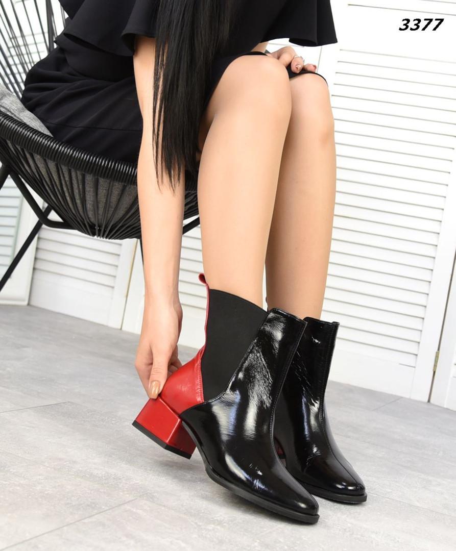 Демисезонные женские черные ботинки, натуральная лакированная кожа