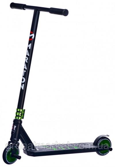 Трюковый самокат Maraton Dexter, маневренный, 2 пеги, Hic, колеса 110мм, зеленый
