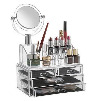 Акриловый органайзер для косметики SUNROZ с зеркалом