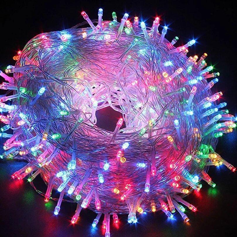 Разноцветная светодиодная гирлянда 100 LED 10 метров XMAS, прозрачный провод, подключение 220 В