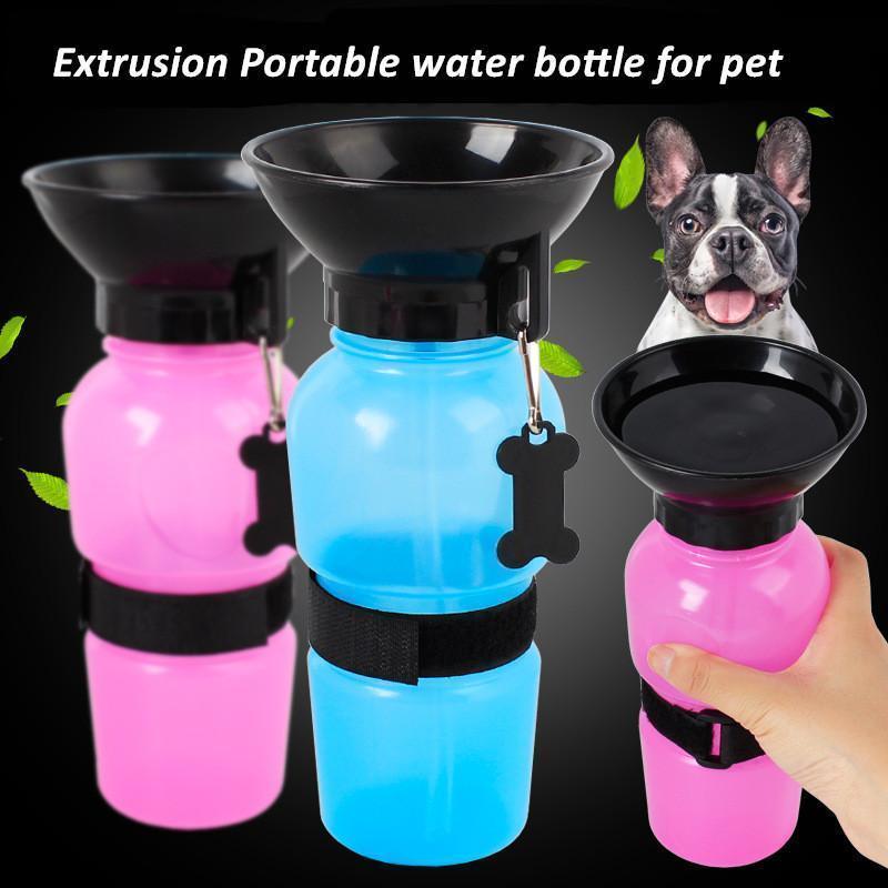 Бутылка для животных с поилкой PET BOTTLE 500 мл, с тарелкой, разные цвета