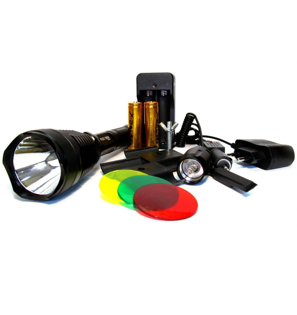Мощный светодиодный фонарь XBalo-G PRO Q-2800-T6, охотничий с креплением под ствол, 3 линзы, 5000W