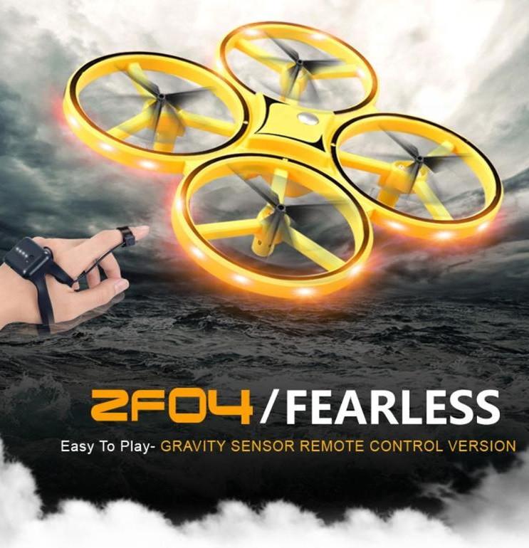 Квадрокоптер Tracker Drone LED ZF04 , управление жестами руки, LED подсветка, с часами