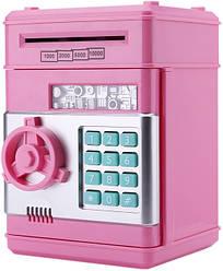 Копилка сейф с кодовым замком и купюроприемником Piggy Bank SAFE, для бумажных денег и монет Розовый