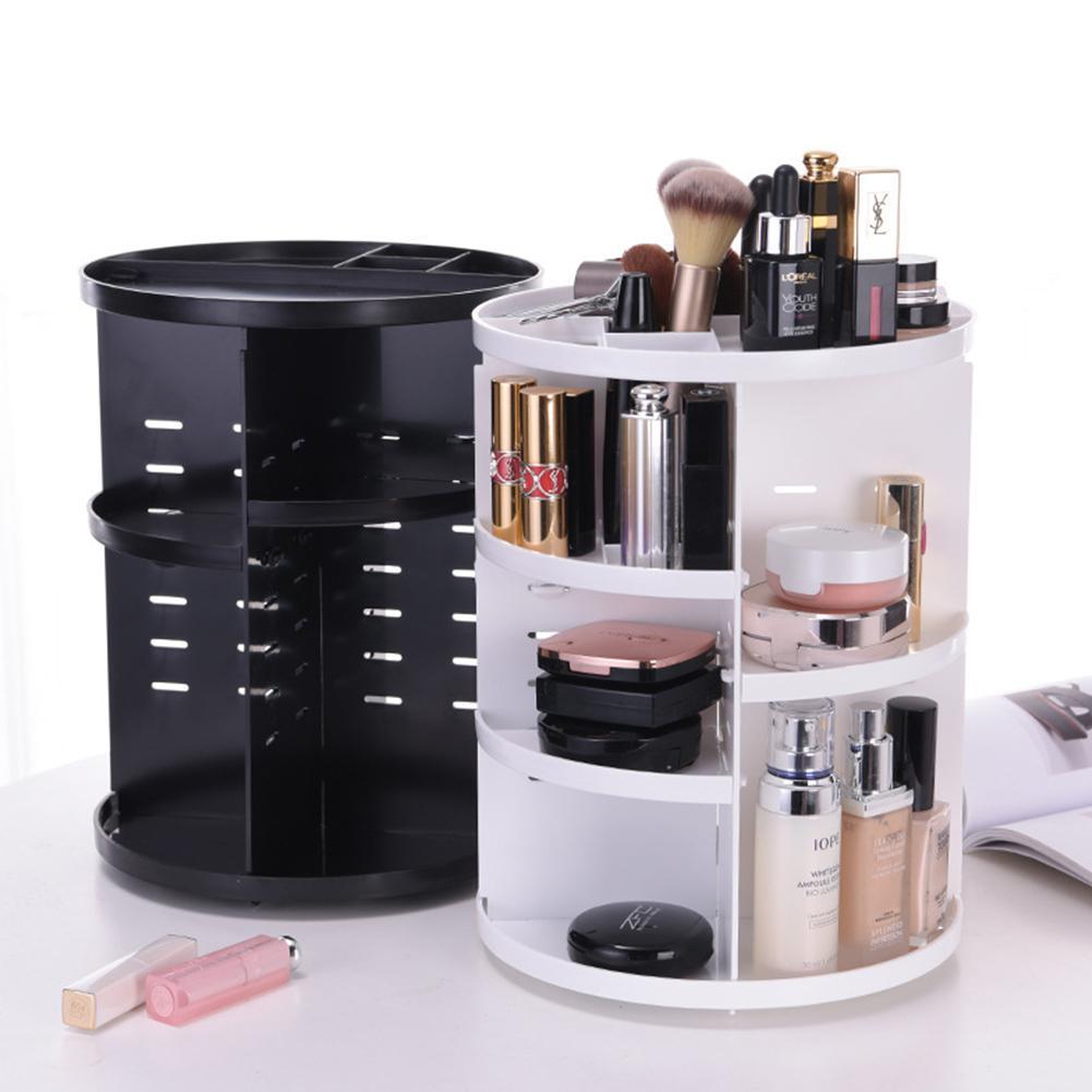 Органайзер для косметики вращающийся 360° Rotation Cosmetic Organizer, складной, белый и черный