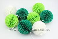 Гирлянда из шаров-сот, бело-зеленая, d10 см