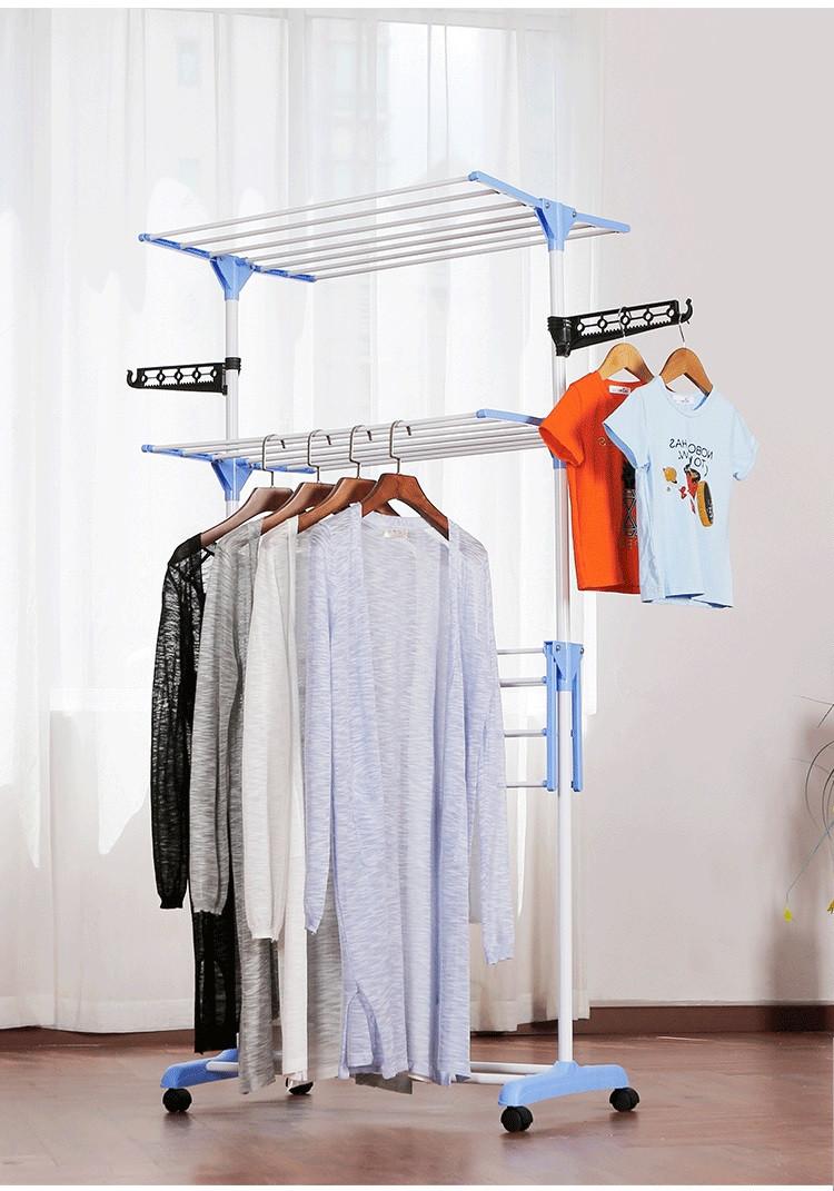 Стойка сушилка для одежды Garment rack with wheels складная 3 яруса, металл, 172см высота