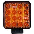 Фара LED квадратная 48W, 16 ламп, широкий чистый желтый луч + стробоскоп, фото 2