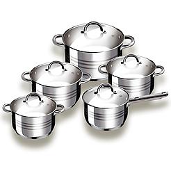 Набор посуды Grabdoff Stainless steel GR-203, 4 кастрюли+ ковшик, стеклянные крышки