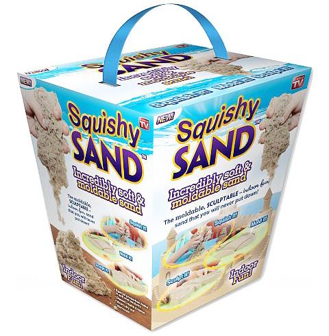 Набор 4 в 1 детский кинетический песок Squishy SAND,  3 формы