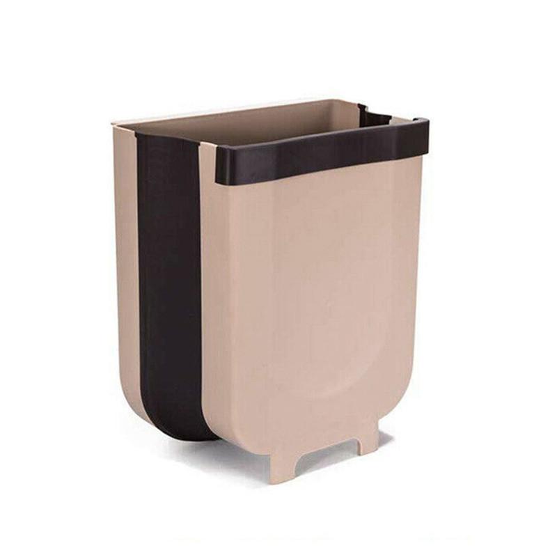 Складной мусорный контейнер на двери Kitchen Wet garbage FLEXIBLE BIN, раскладной, бежевый цвет
