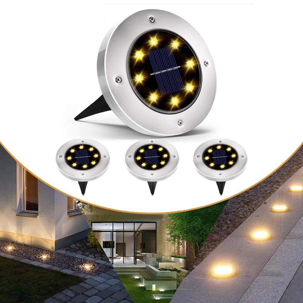 Комплект из 4-х уличных фонарей на солнечной батарее MAXI DISC LIGHT, с штыками для газона, водонепроницаемые