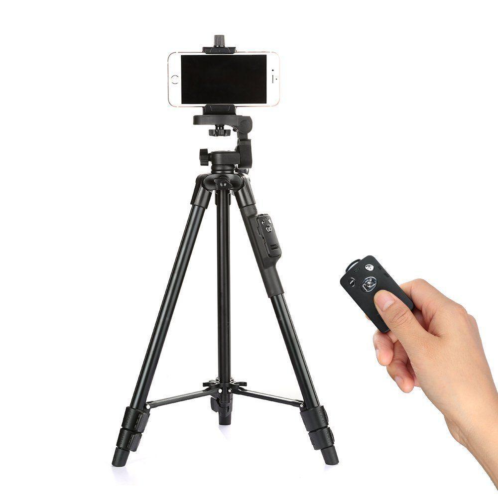 Усиленный поворотный штатив для телефона и камеры VCT 5208, в комплекте с пультом, телескопические ножки