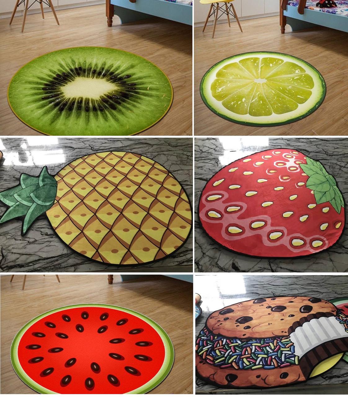 Безворсовый коврик 3D  80 см  в виде фруктов и ягод антискользящий