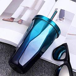Термостакан с трубочкой CRISTAL StarBucks 480 мл, нержавеющая сталь, EL-503, разные цвета Dark-Blue