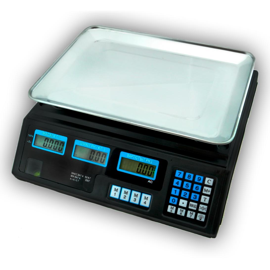 Торговые весы ACS 50KG Staropera T5045 6V аккумулятор, счетчик цены, черный