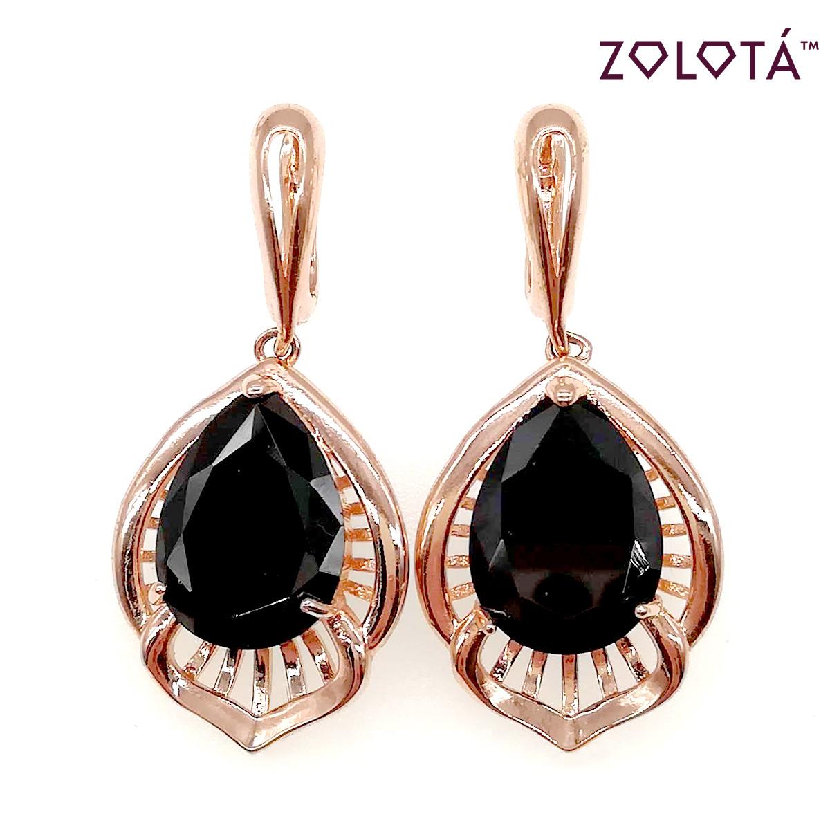 Сережки Zolota з чорними фіанітами (куб. цирконієм), з медичного золота, в позолоті, ЗЛ00415 (1)