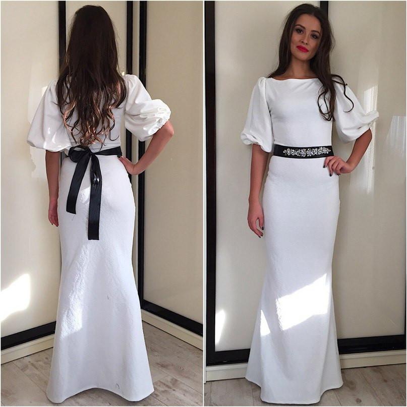 Макси платье с поясом-украшением