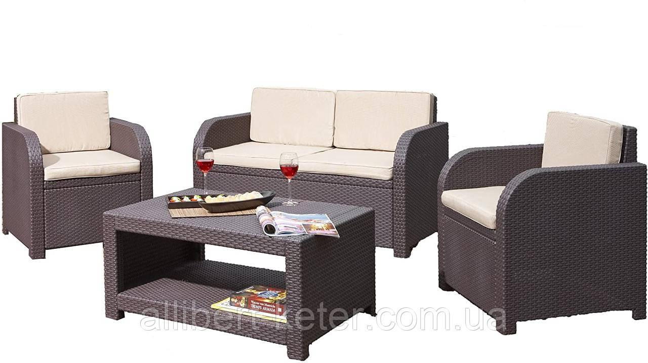Комплект садових меблів Allibert by Keter Modena Lounge Set Brown ( коричневий )
