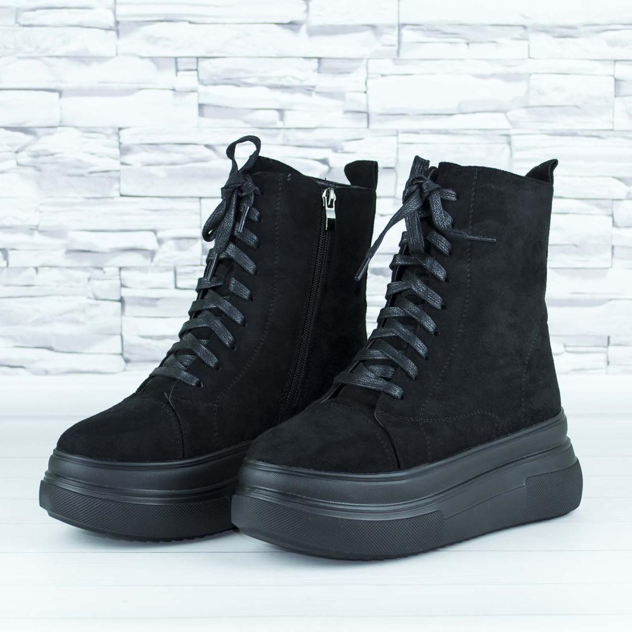 Ботинки женские зимние черные на шнурках и молнии эко замша b-464