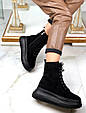 Ботинки женские зимние черные на шнурках и молнии эко замша b-464, фото 10