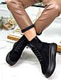 Ботинки женские зимние черные на шнурках и молнии эко замша b-464, фото 8