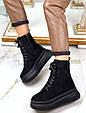 Ботинки женские зимние черные на шнурках и молнии эко замша b-464, фото 9