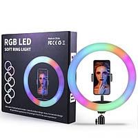 Разноцветная кольцевая светодиодная Led Лампа для селфи RGB MJ26 26см. с держателем для телефона