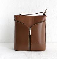 Маленькая женская сумочка. 100% кожа Италия Капучино