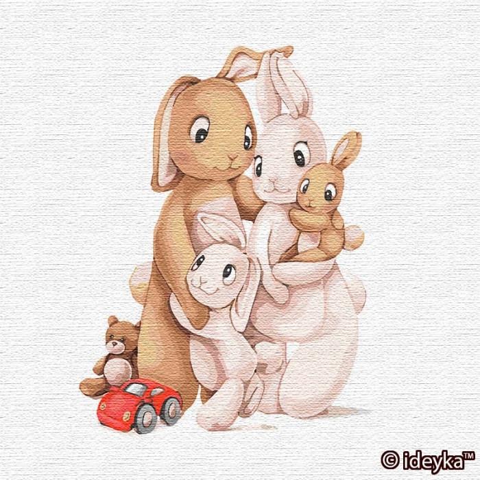 Картина по номерам Маленькая семья кроликов  ТМ Идейка 30 х 30 см КНО2361