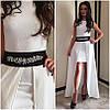 Жаккардовое платье с двойной юбкой и поясом-украшением, фото 4