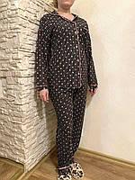 48 (L) размер! Женская домашняя одежда из Турции, пижама для для сна в розовый горох и белую полоску