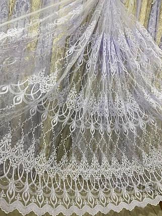 Красивый фатиновый тюль с крученой нитью №116163 оптом, фото 2