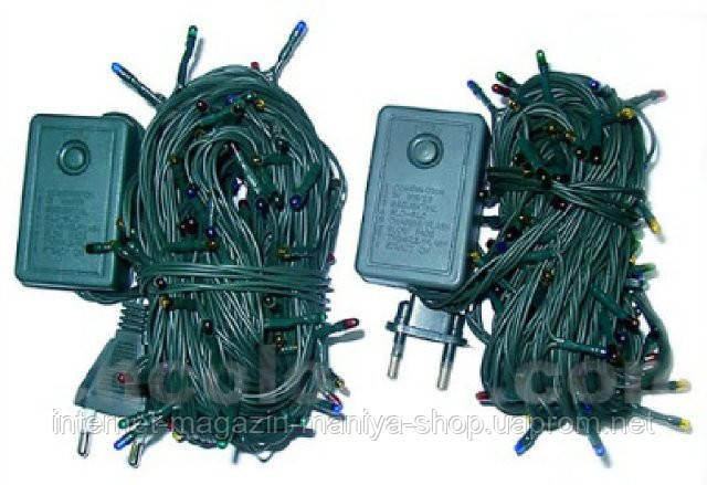 Гирлянда электрическая разноцветная с переключателем, 140 лампочек, 1,5м