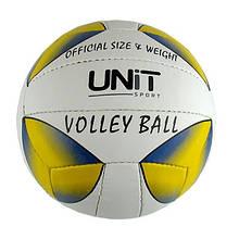 Мяч волейбольный желто-синяя капля PVC разм 4, арт 20155-US UNIT
