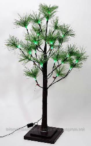 Светящееся дерево, 24 LED (зелёные), постоянное свечение. Квадратная подставка. Для уличного применения.