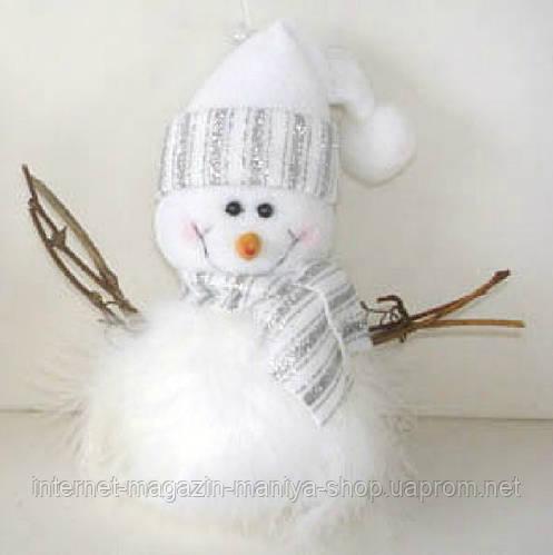 Мягкая новогодняя игрушка Снеговик, 19см